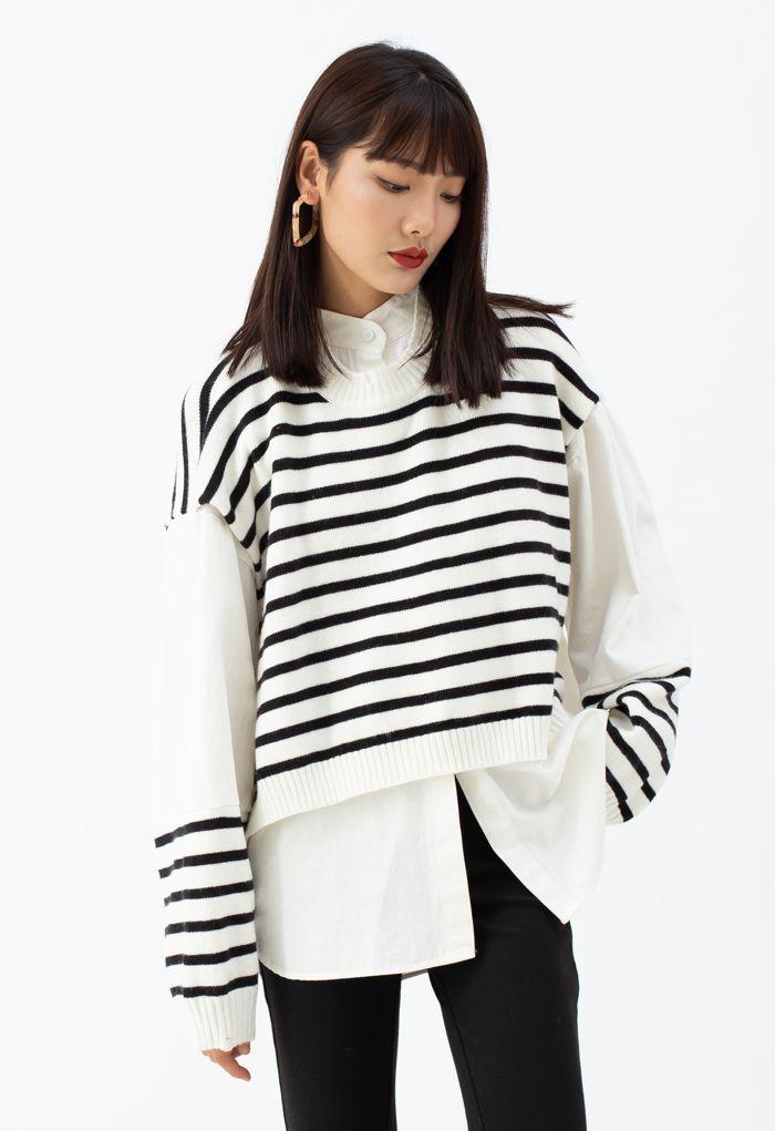 Fake Two-Piece Striped Hi-Lo Pullover in White
