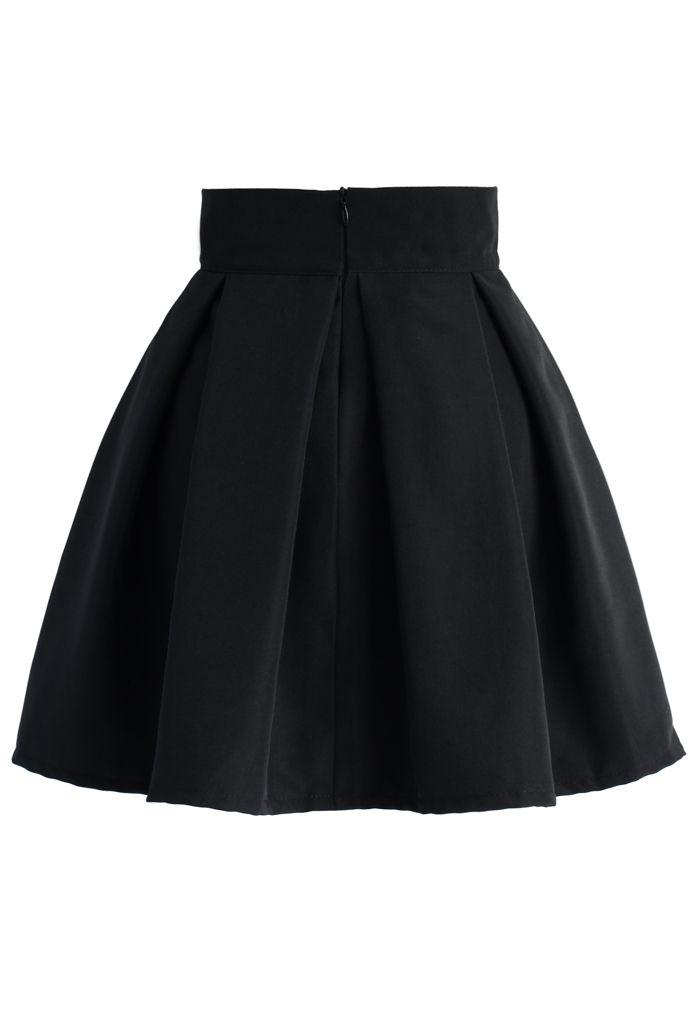 蝴蝶結褶皺半身裙 - 黑色