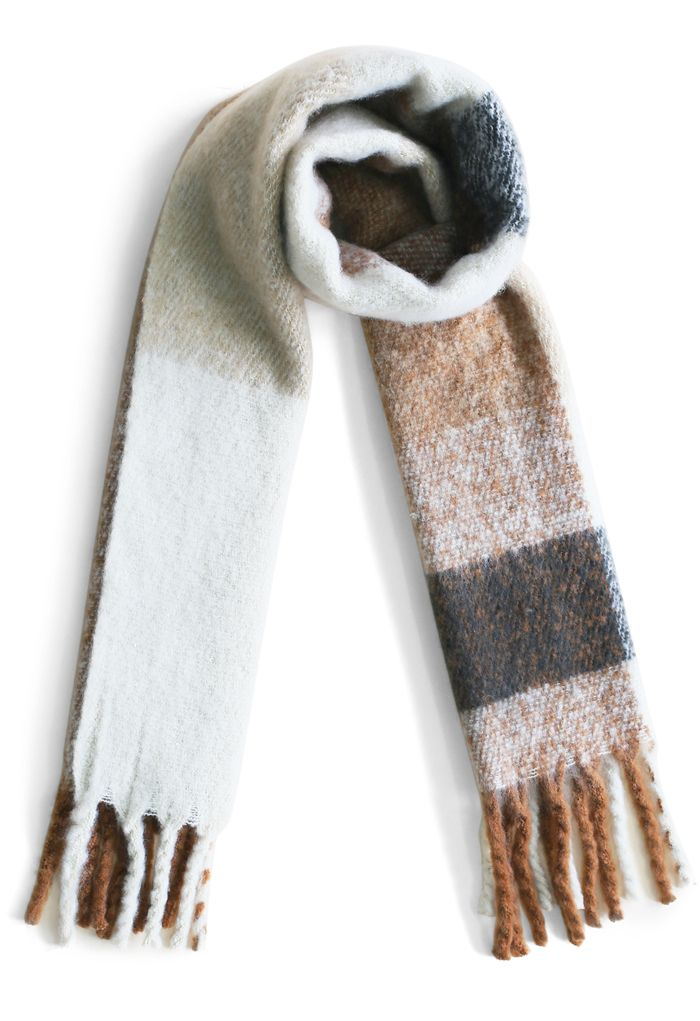 Coffee Time Fringed Scarf