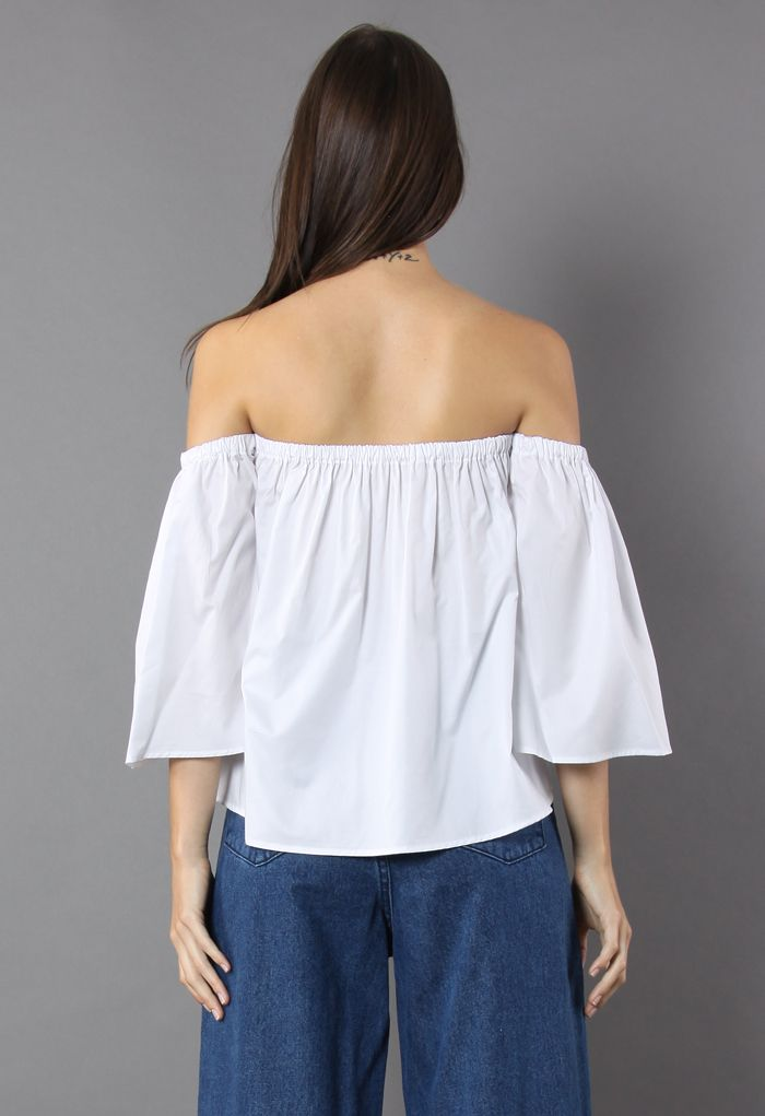 Delight Moment Off-shoulder Top in White