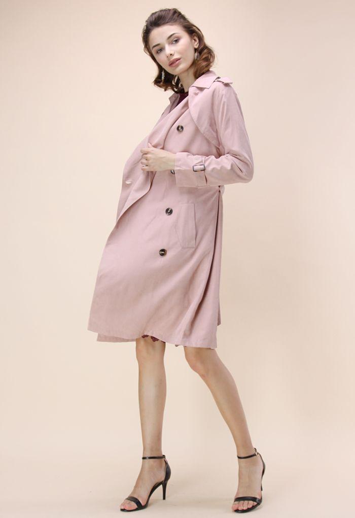 雙排扣腰帶軍風大衣-淡粉色
