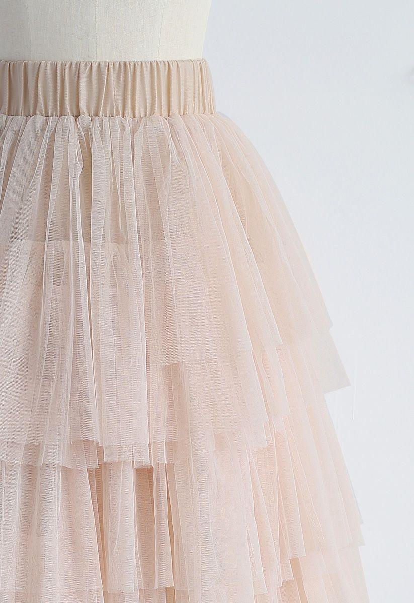 網紗曡層半身裙 - 裸粉色