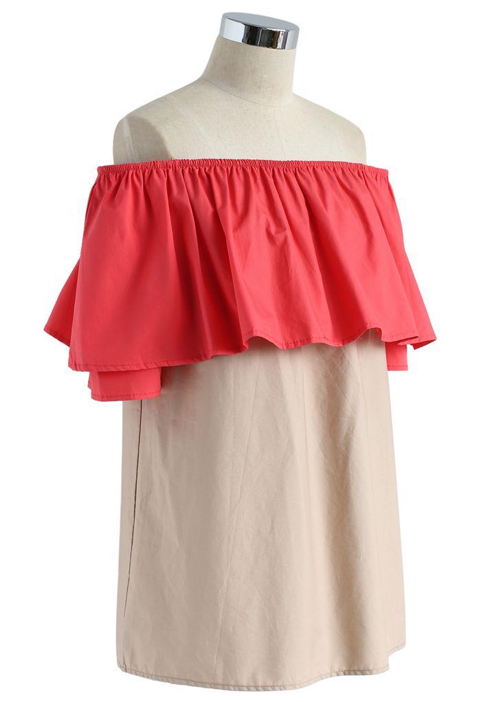 Brisk Color Two Tone Off-shoulder Top