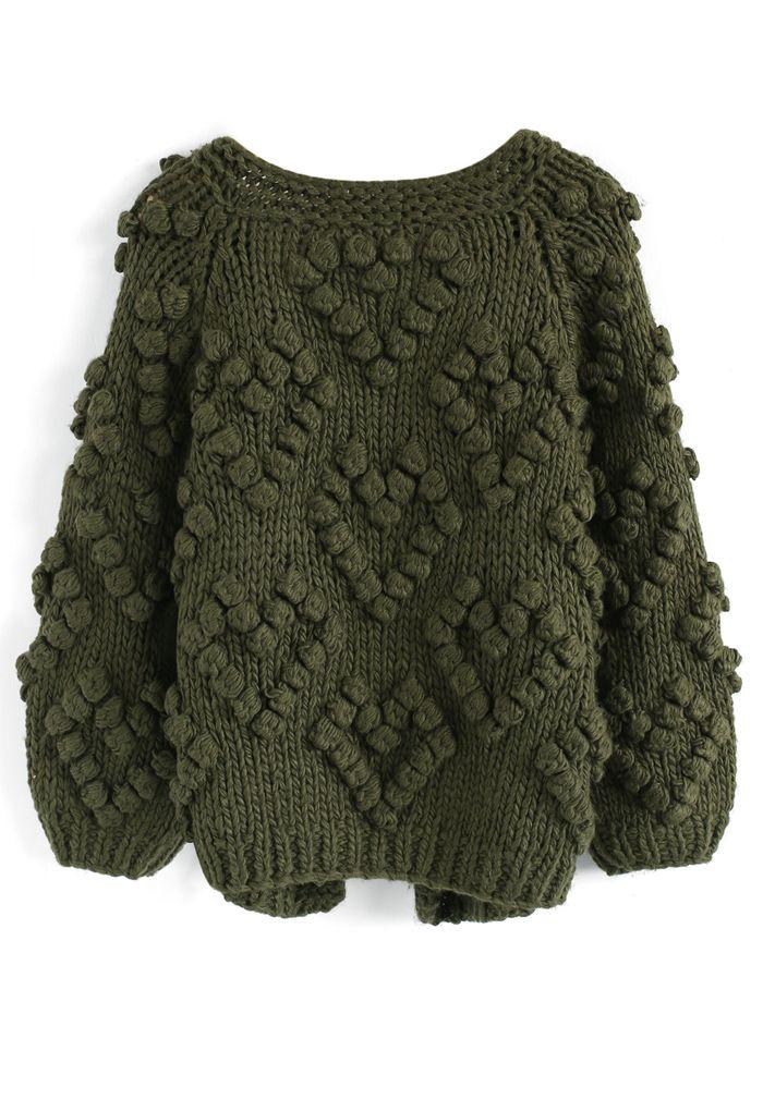 線球裝飾針織開衫-軍綠色