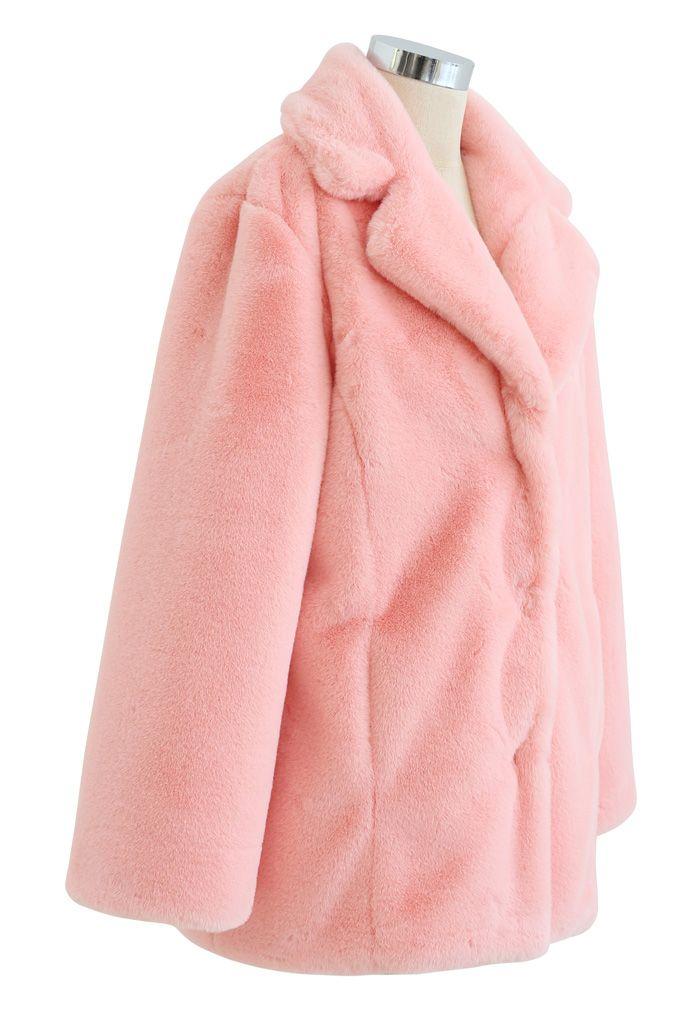 粉色人造皮草外套