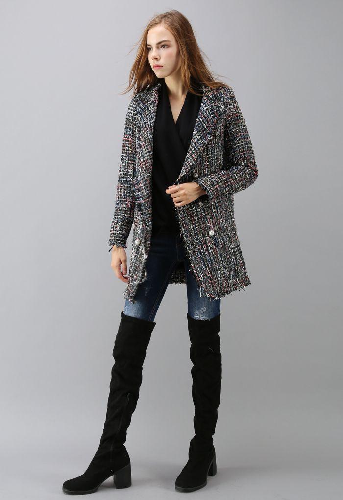雙排扣花呢外套