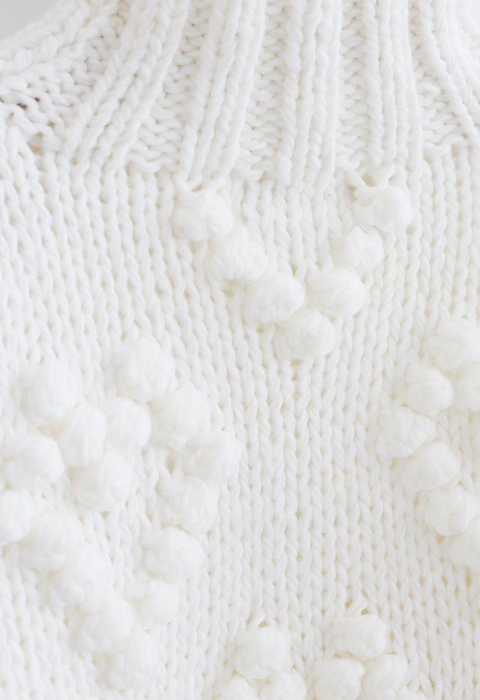 線球裝飾高領針織衫-象牙白