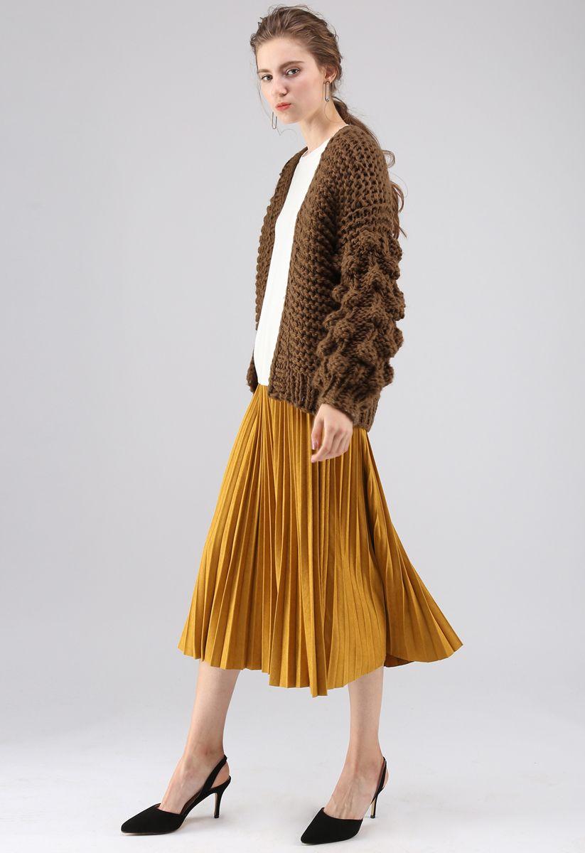 絨球袖子針織開衫-棕色