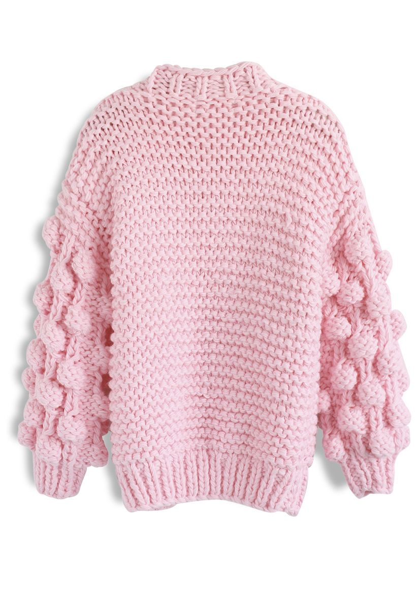 線球袖子針織開衫-糖果粉