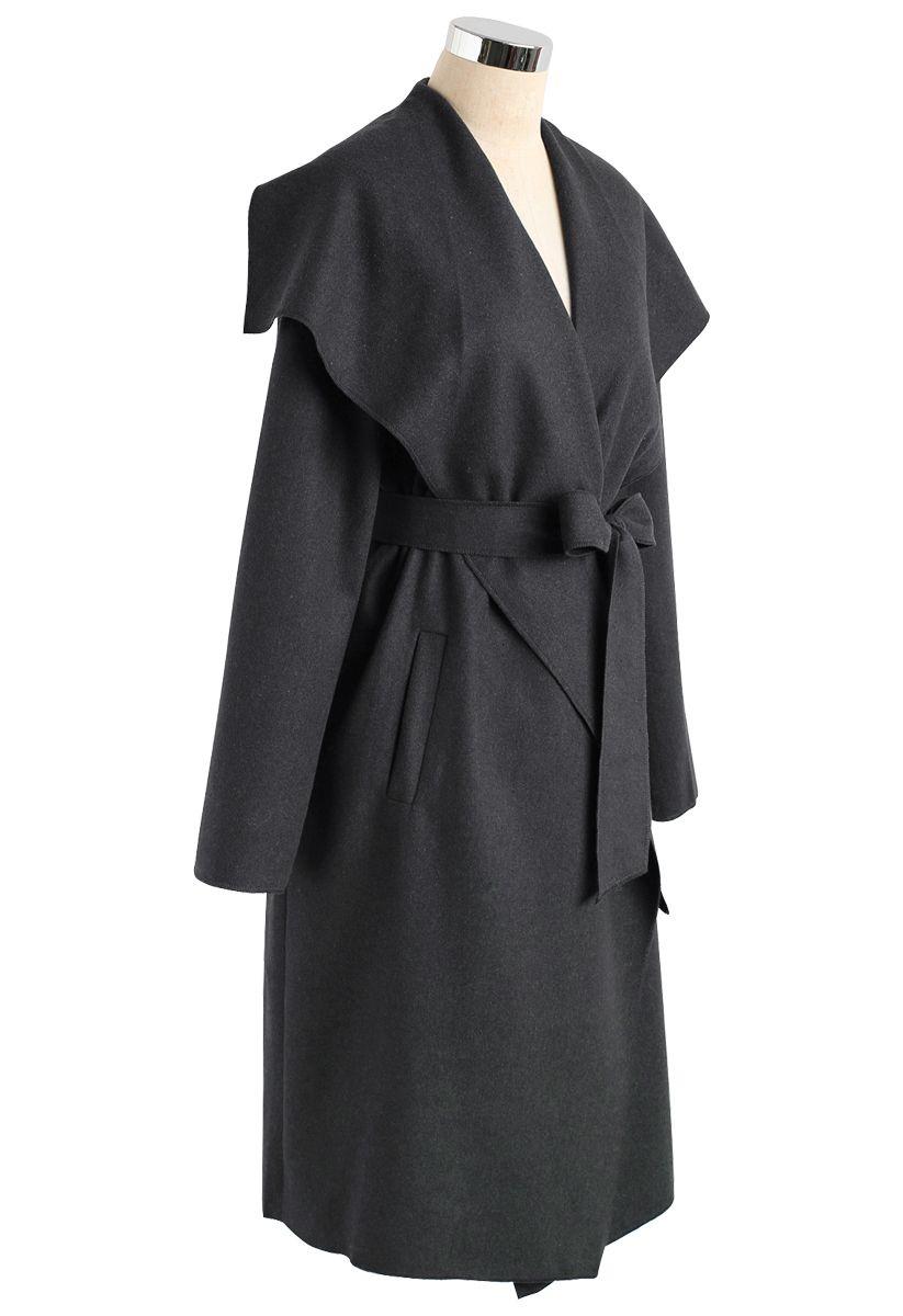 羊毛混紡開襟大衣-灰色