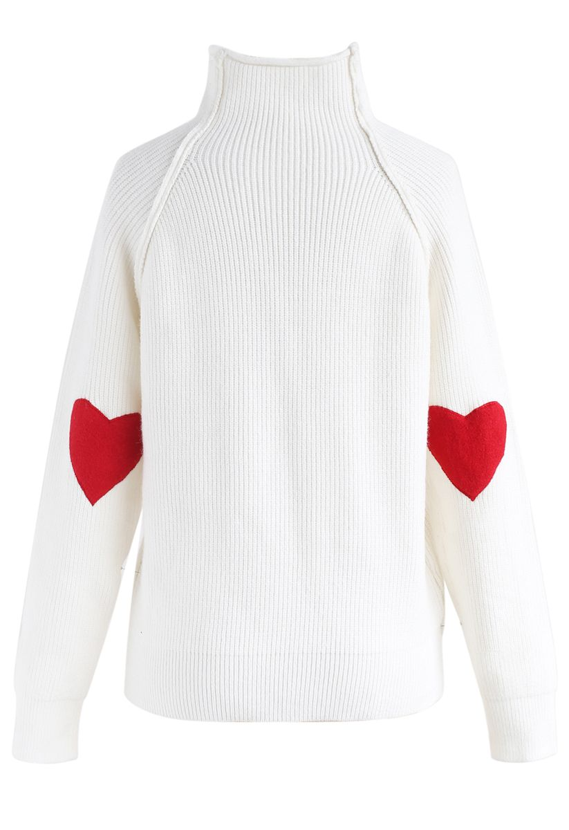 愛心拼接長袖針織衫-白色