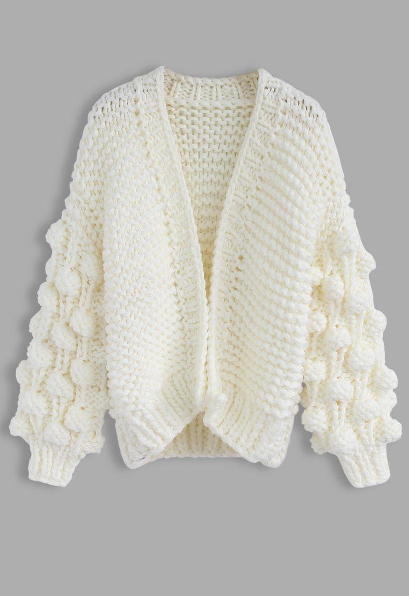 線球袖子針織開衫-純白