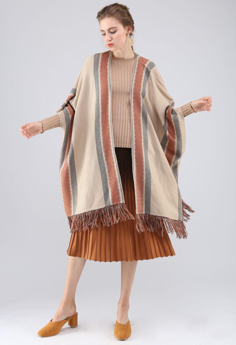 條紋流蘇斗篷 - 棕褐色