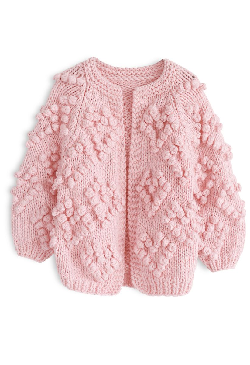 心形絨球裝飾針織開衫童裝-粉色