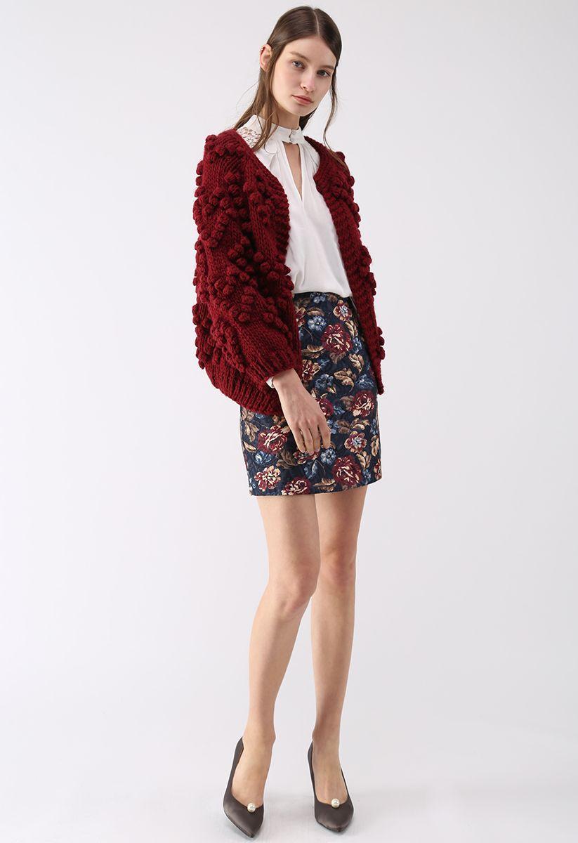線球裝飾針織開衫-酒紅色