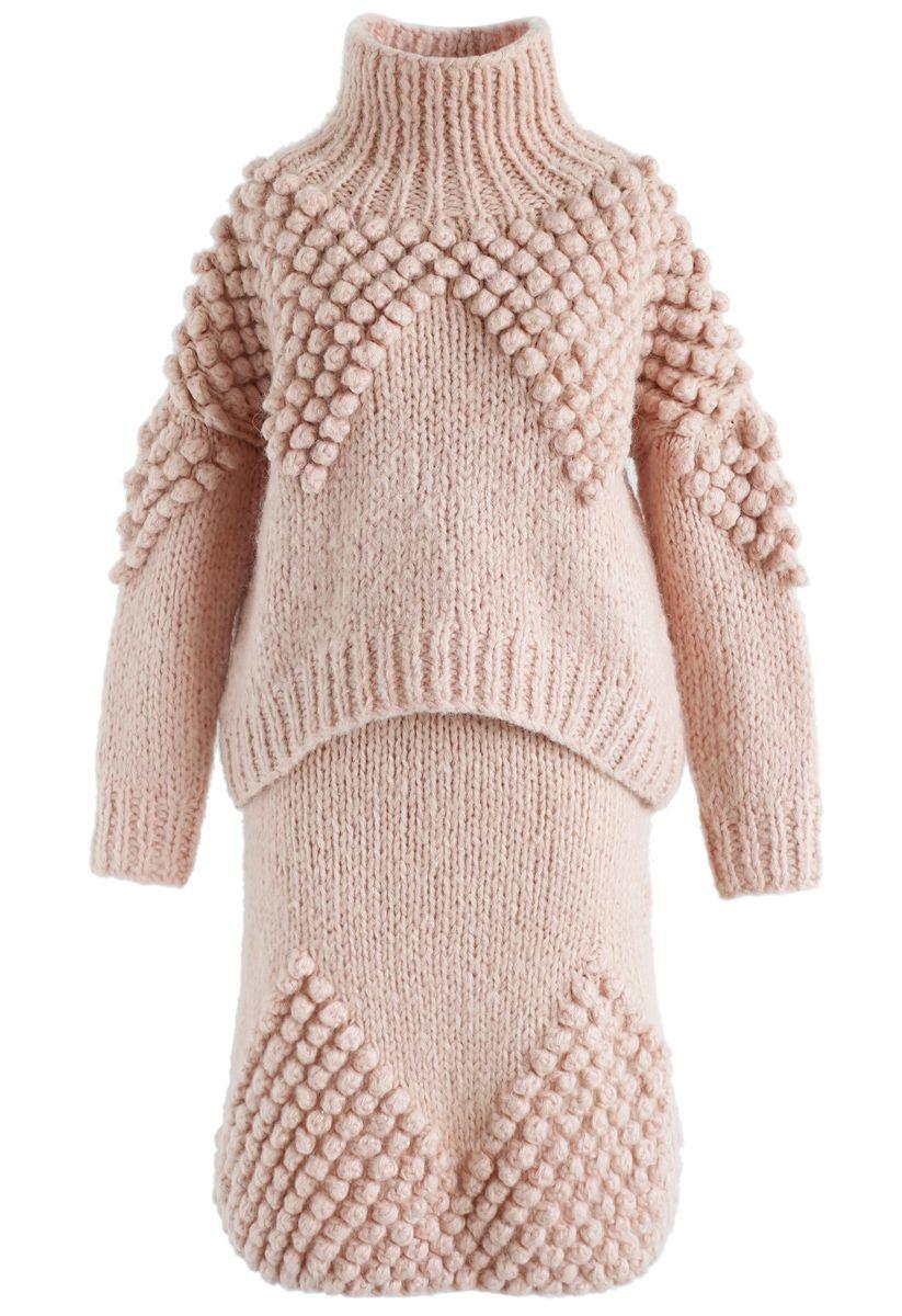 綫球裝飾套衫裙子套裝