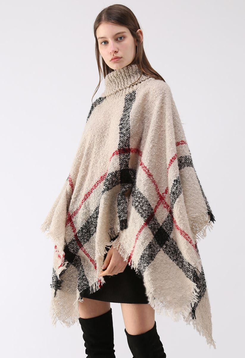 Unstoppably Charming Stripe Shaggy Knit Cape in Light Tan