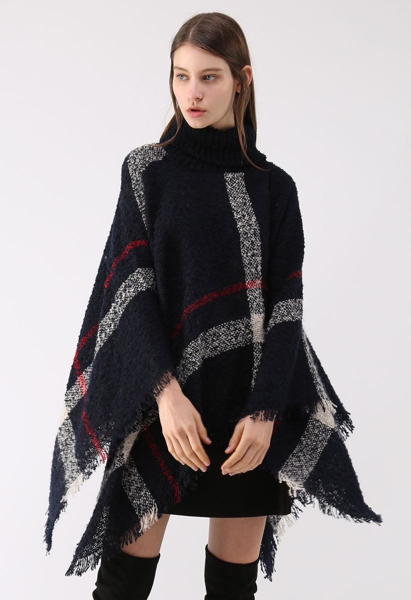 Unstoppably Charming Stripe Shaggy Knit Cape in Navy