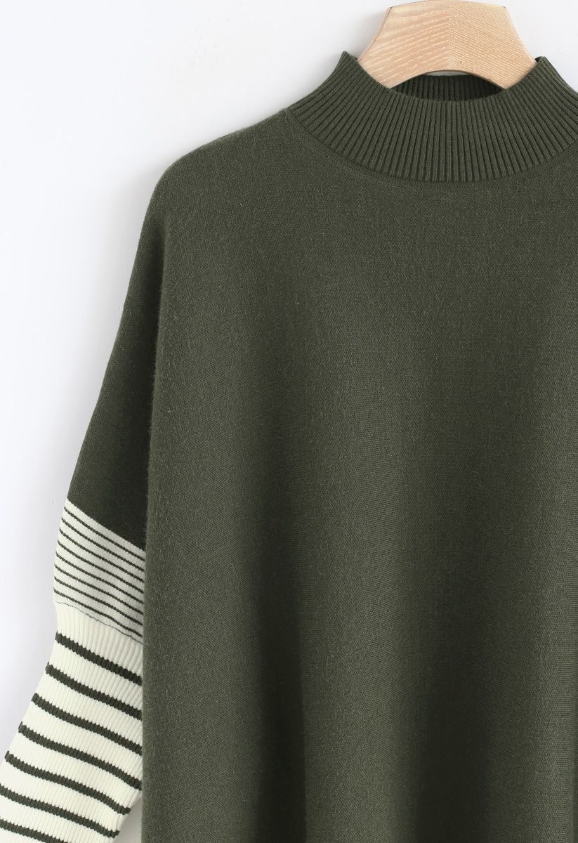 橄欖綠條紋披肩針織衫