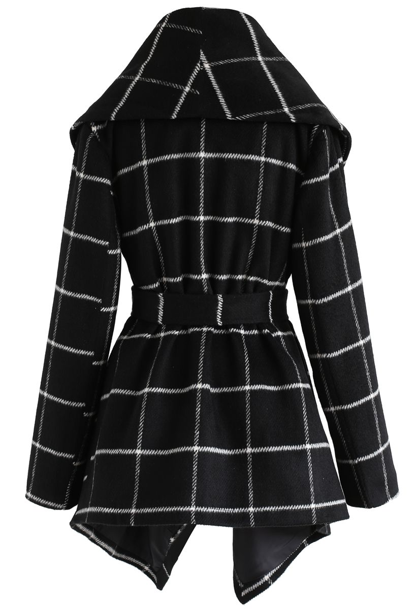 簡約格子披肩外套-黑色