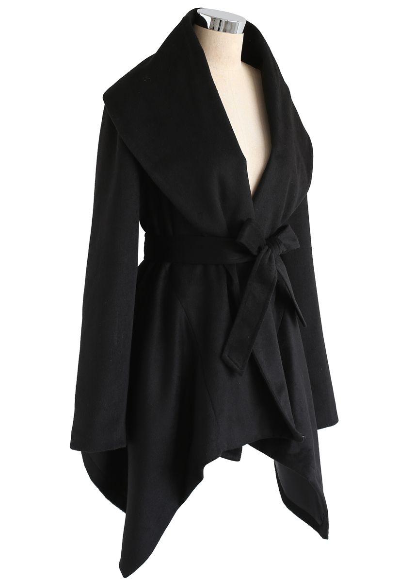 绑带披肩外套 - 黑色