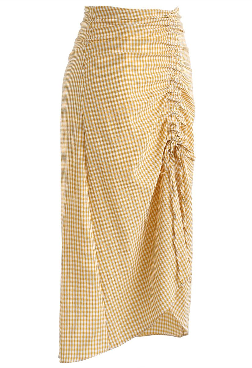 Drawing String Asymmetric Gingham Pencil Skirt in Yellow
