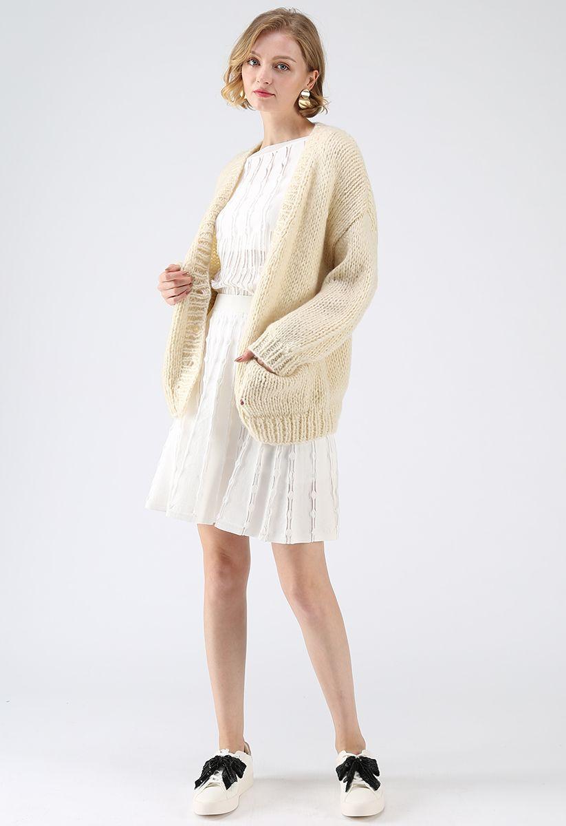 手工針織開衫 - 米白色