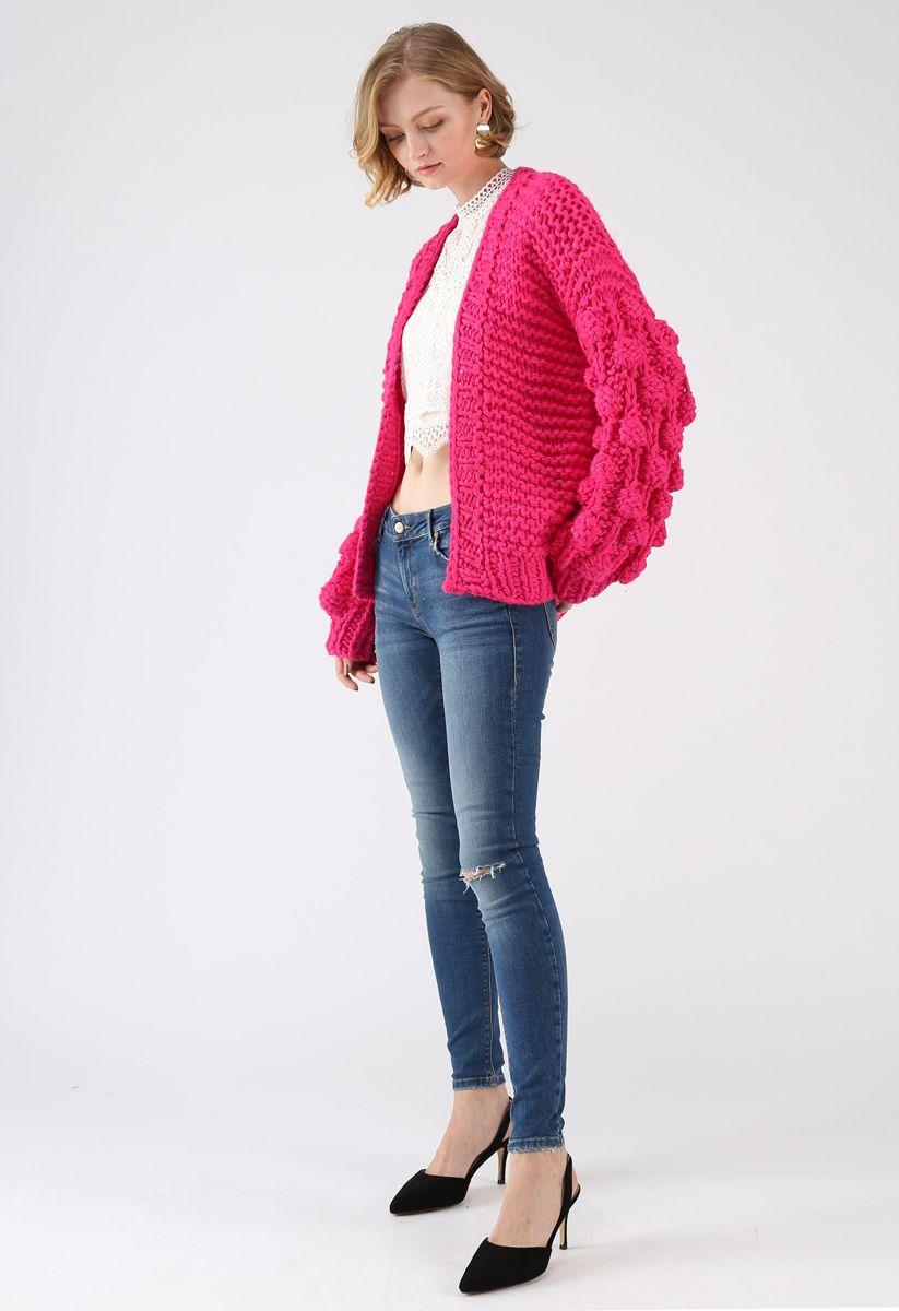 線球袖子針織開衫 - 亮粉色