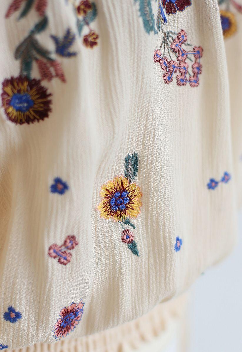 Never Get Bored Embroidered Off-Shoulder Top