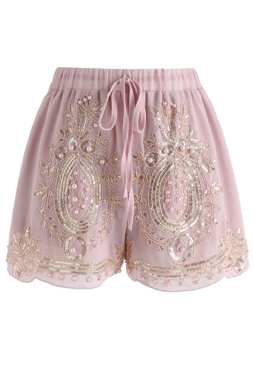 Shinning Pearls Trimming Chiffon Shorts in Pink