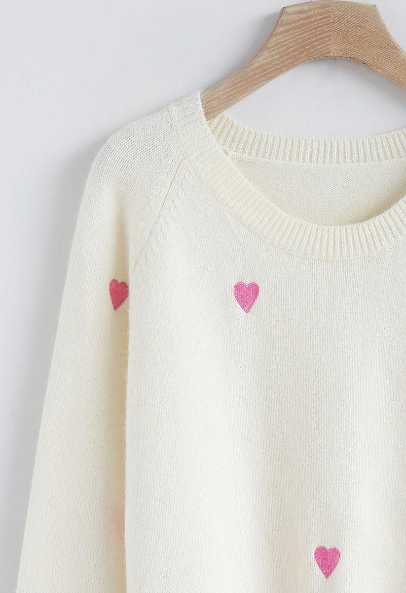 愛心刺綉毛衣 - 白色