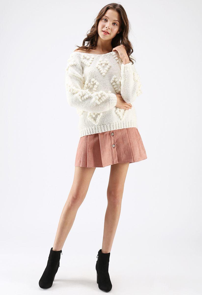 線球裝飾V領套頭衫 - 白色