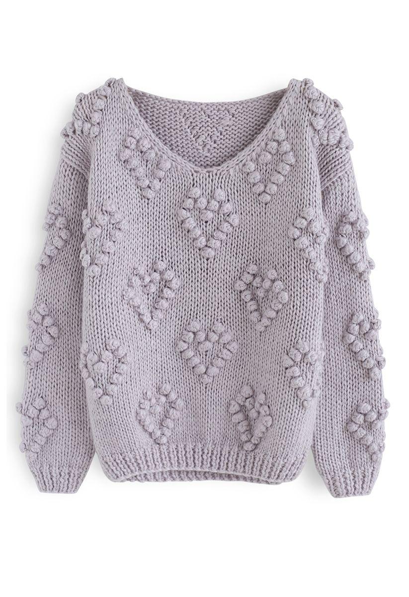 線球裝飾V領套頭衫 - 淡紫色
