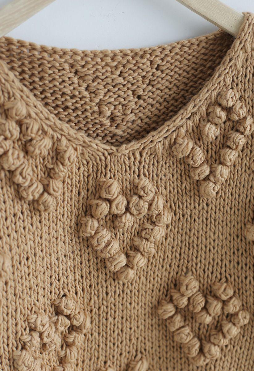 線球裝飾V領套頭衫 - 棕褐色