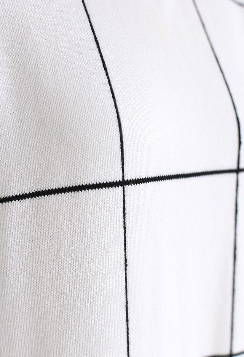 格子高領針織裙