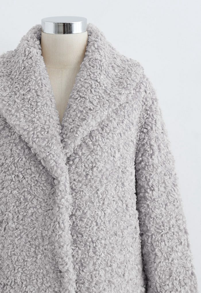 Feeling of Warmth Faux Fur Longline Coat in Grey