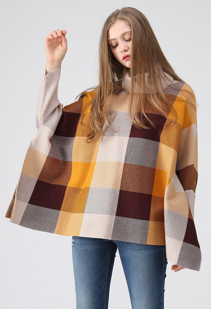 姜黃色格子披肩針織衫