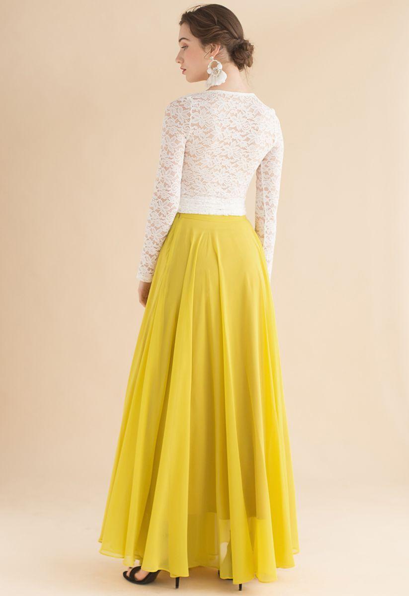 不對稱下擺雪紡半身裙--黃色