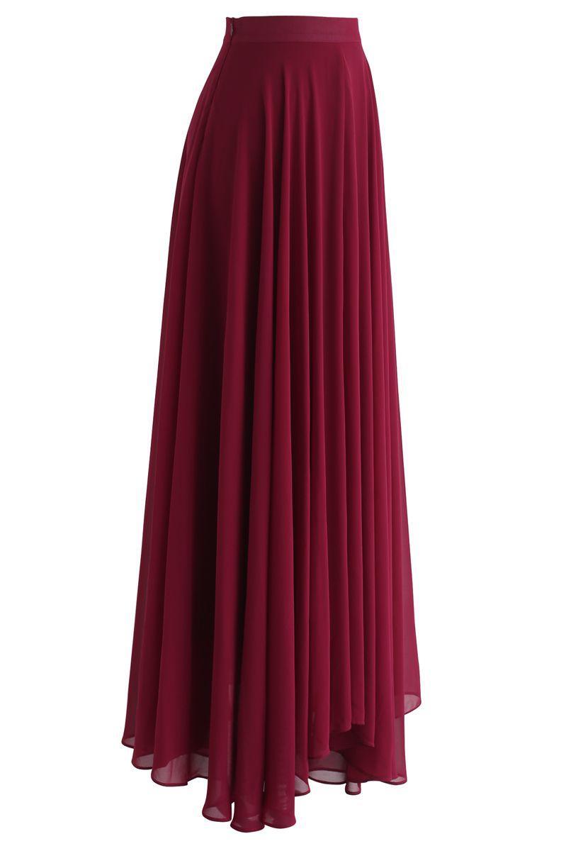 不對稱下擺雪紡半身裙--酒紅色