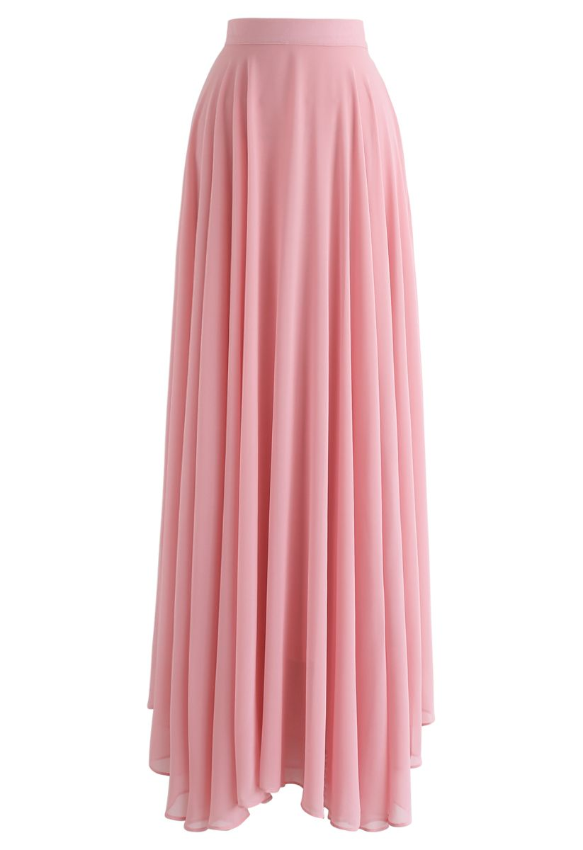 不對稱下擺雪紡半身裙--粉色