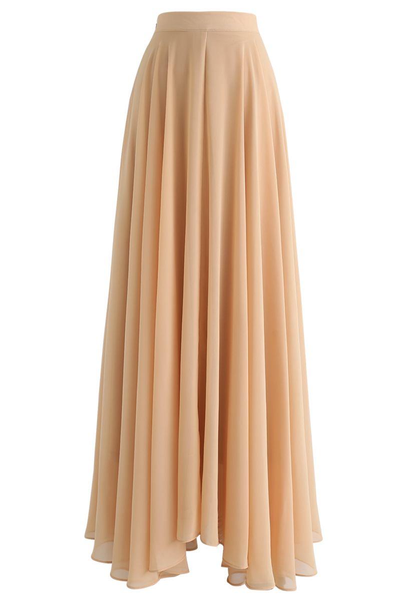 不對稱下擺雪紡半身裙--駝色