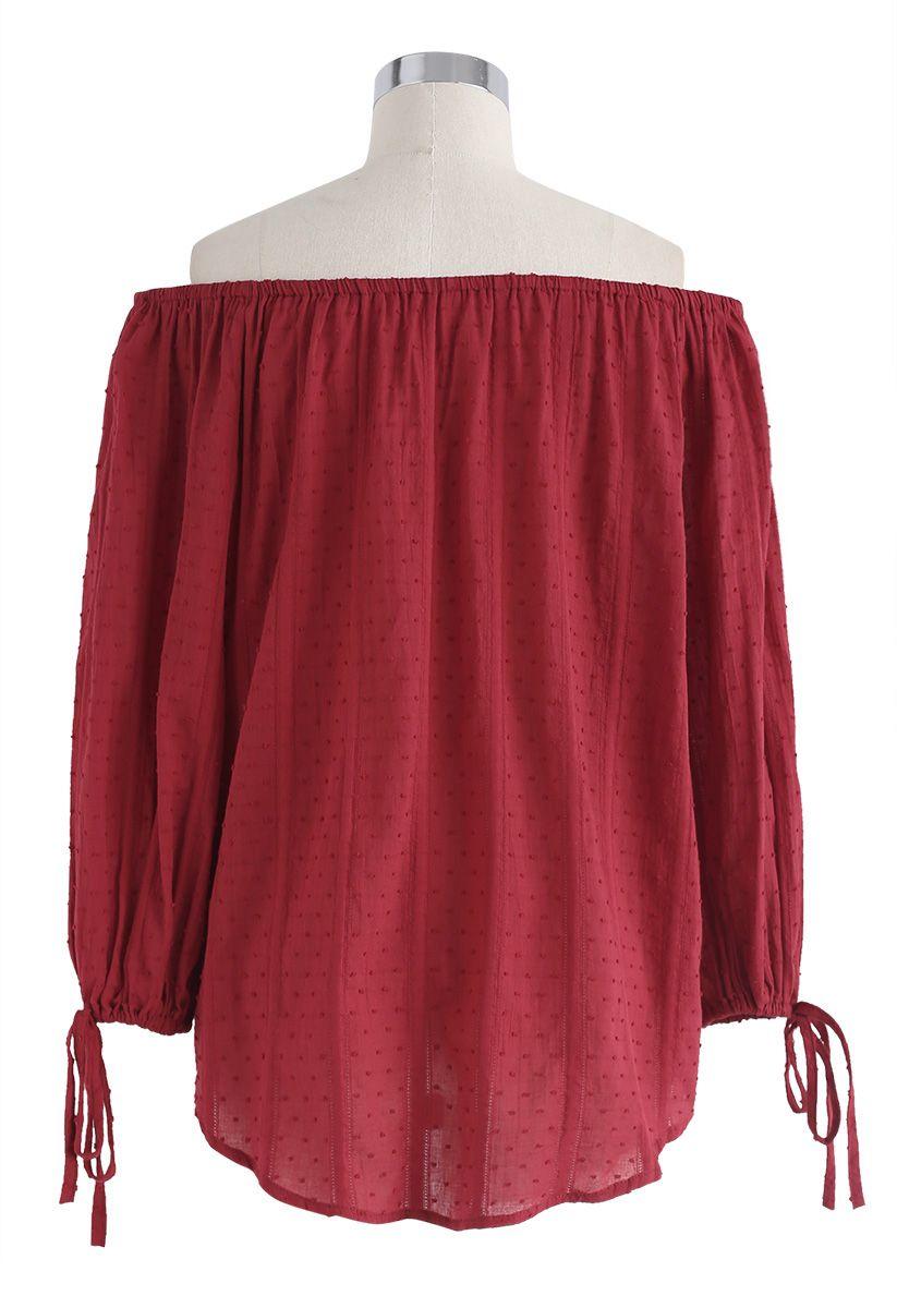 紅色夏日微風露肩上衣