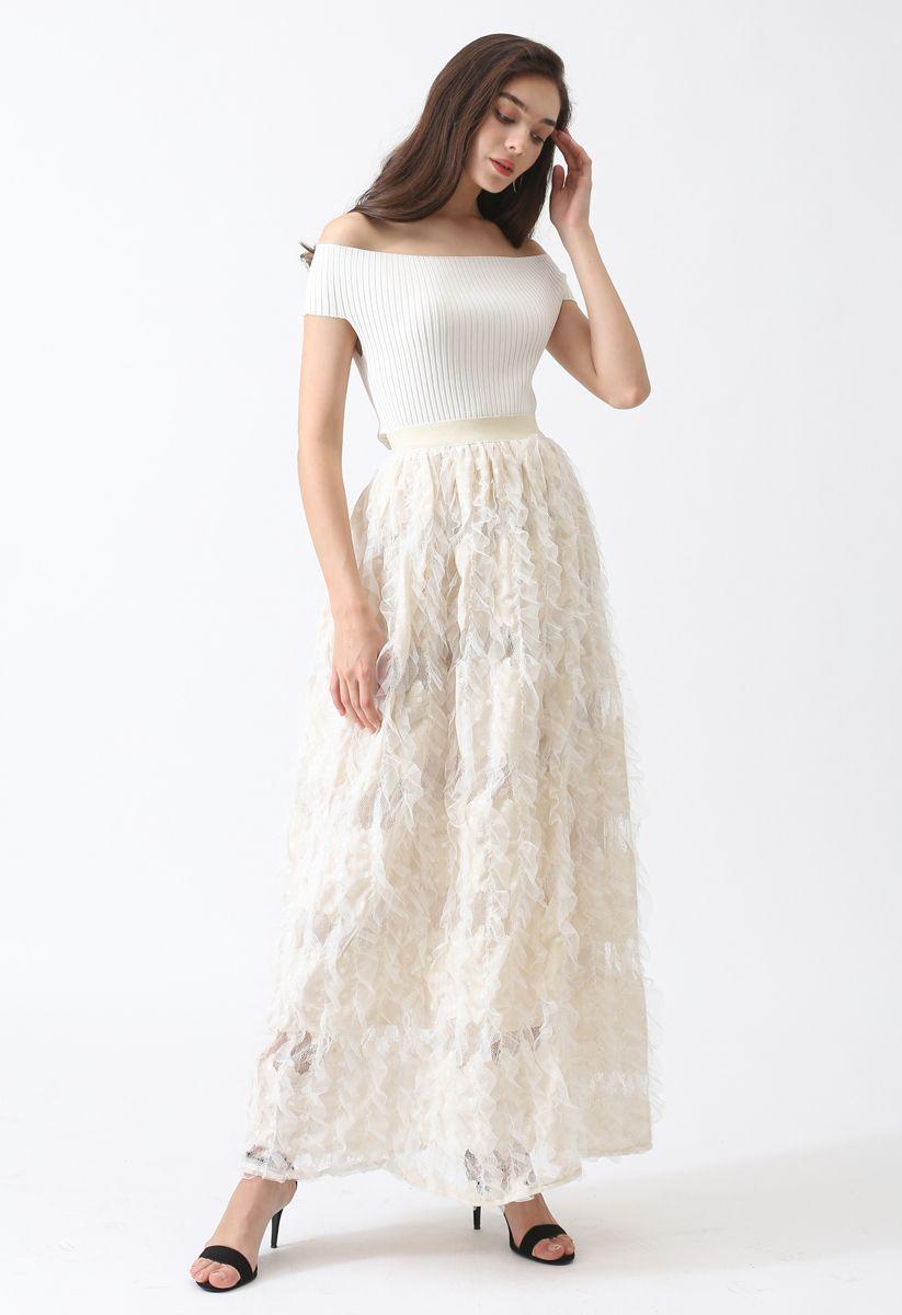露肩羅紋針織上衣 - 白色