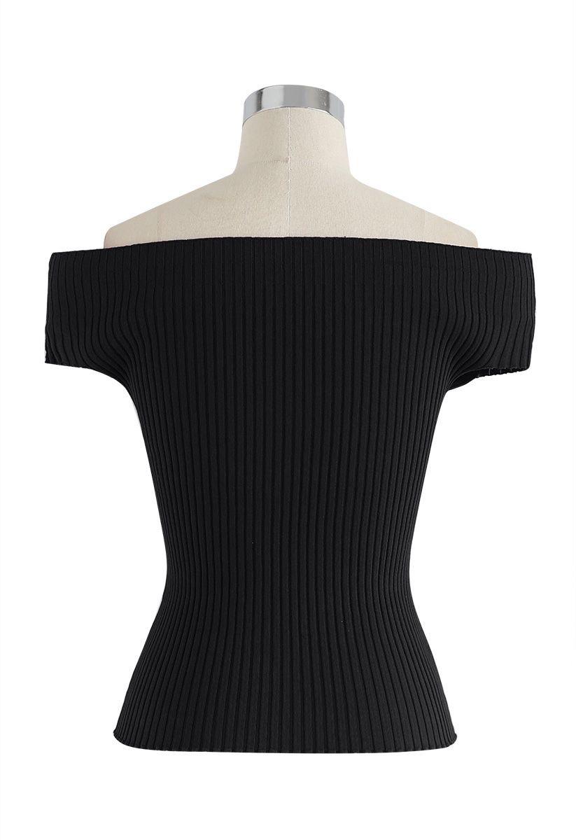 露肩羅紋針織上衣 - 黑色