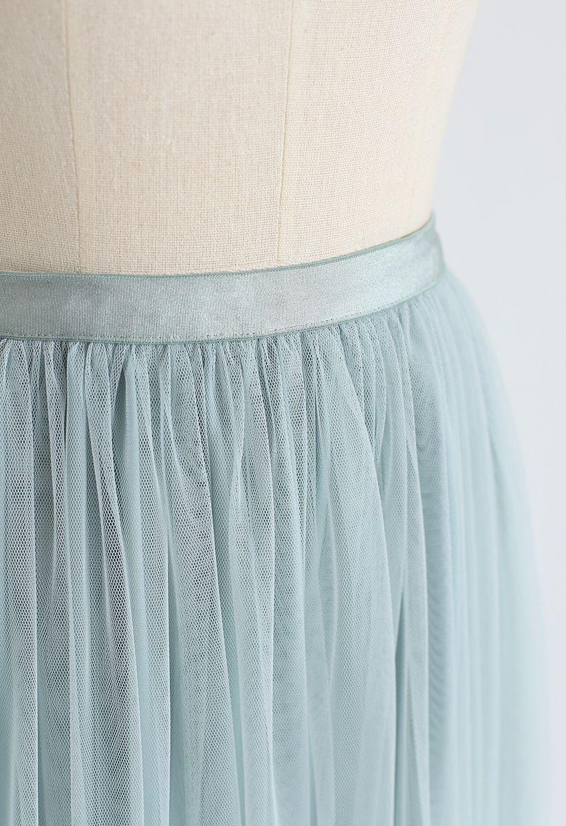 薄荷中不能讓網眼薄紗裙