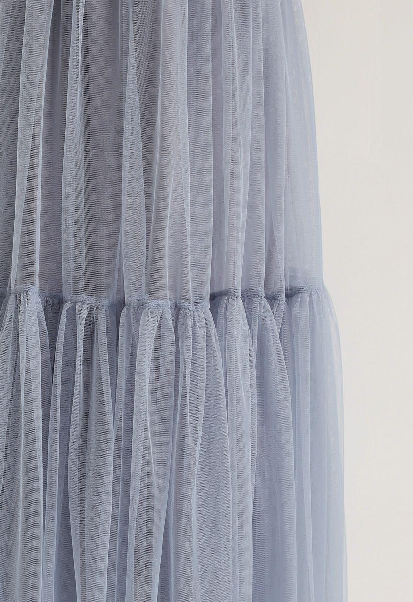 灰色藍色不能讓網格薄紗裙子
