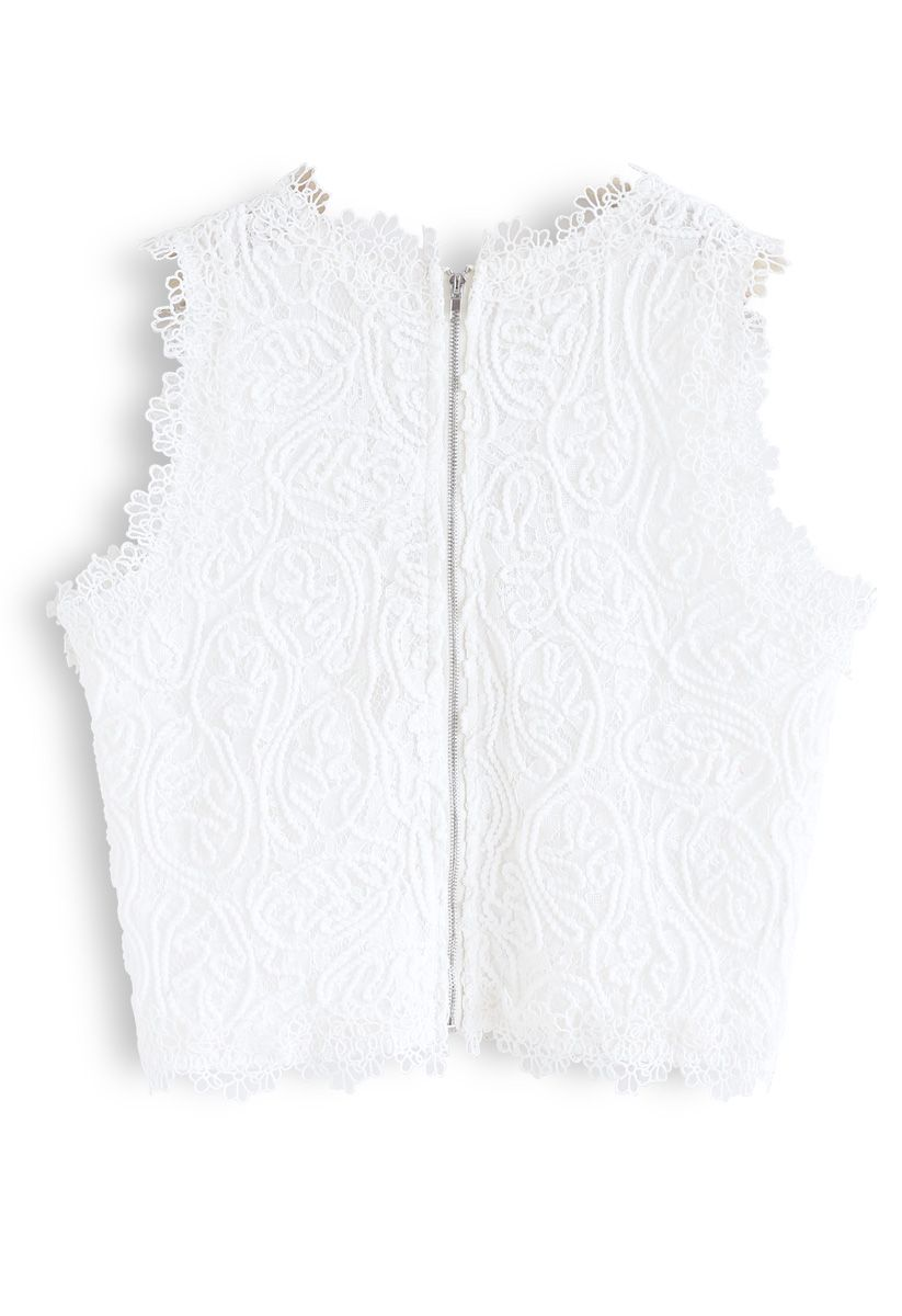 全蕾絲花邊上衣--白色