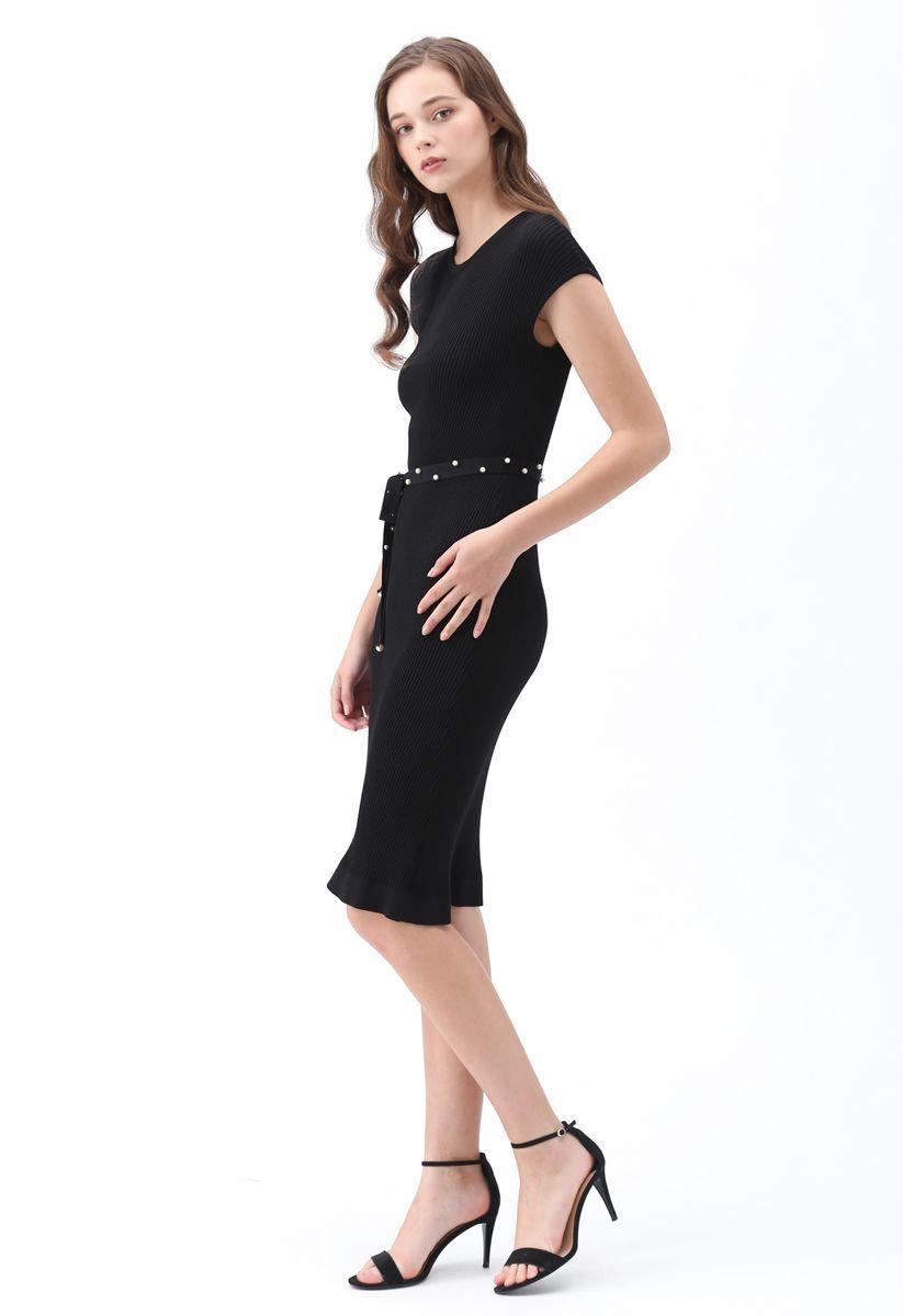 腰帶針織連衣裙--黑色
