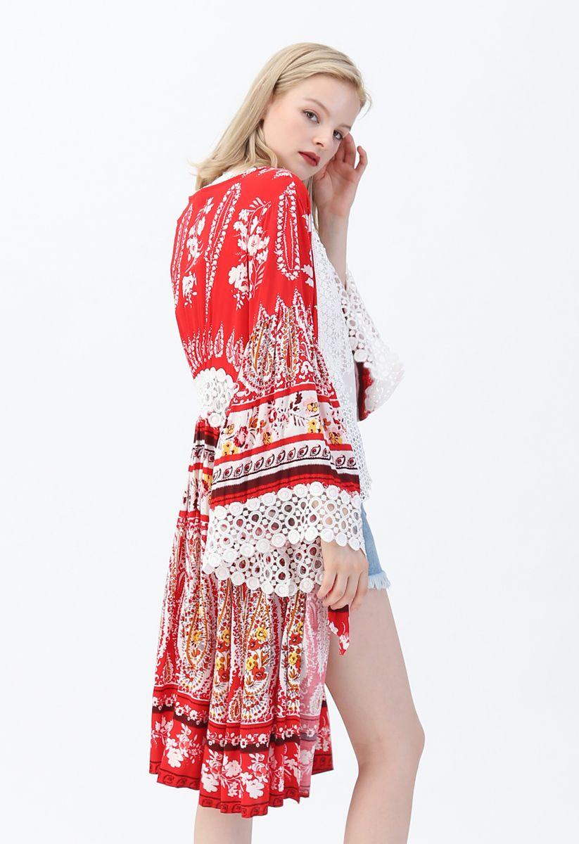 波西米亞鉤花飾邊綁帶和服