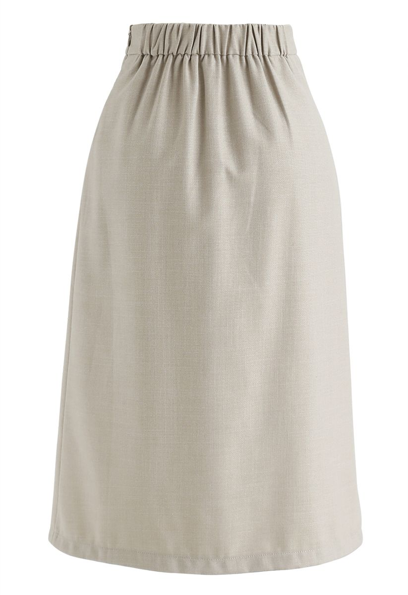 Base Color Split Hem Pencil Skirt in Sand